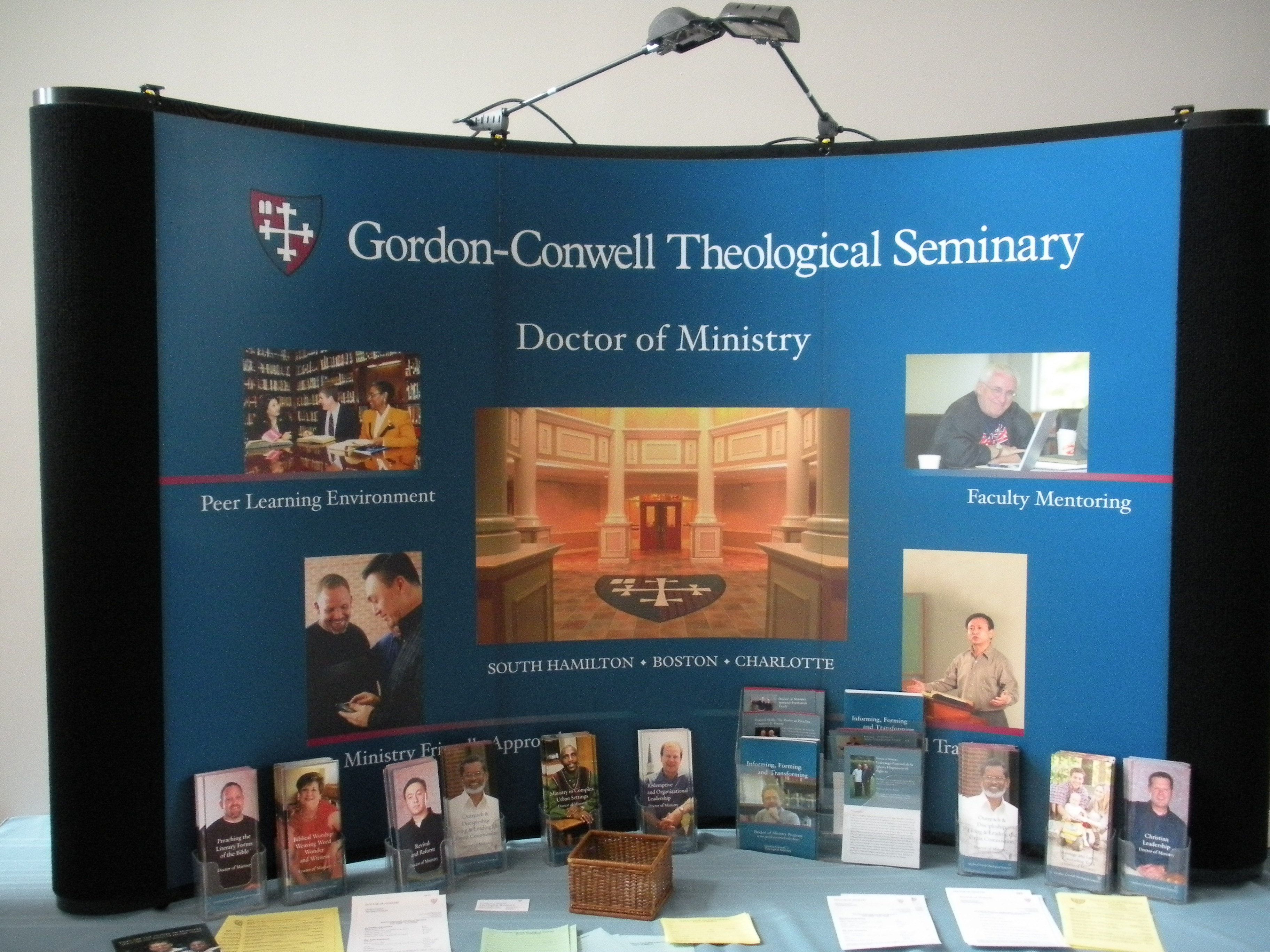 I am on D.Min. display table at Gordon-Conwell!